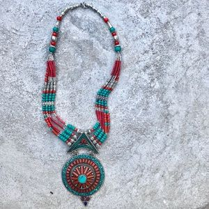 Jewelry - TURQUOISE CORAL beaded NECKLACE STERLING SILVER